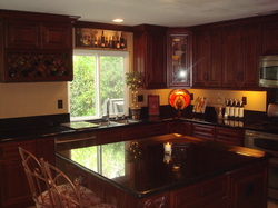 Mahogany Maple cabinets with Black Galaxy counter top